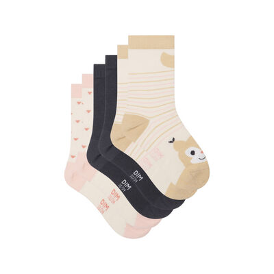 Pack of 3 pairs of Kids Ivory Squirrel Cotton Socks Style, , DIM