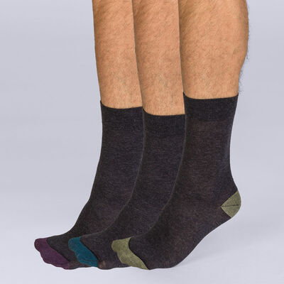 Lot de 3 mi-chaussettes Mix and Match Homme Coton Style-DIM