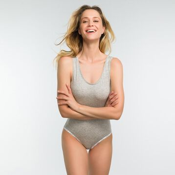 Mottled grey bodysuit in cotton - DIM Originals, , DIM