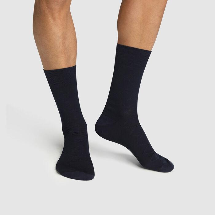 Dim pack of 2 pairs of mercerized cotton socks in Navy Blue Scottish Thread, , DIM