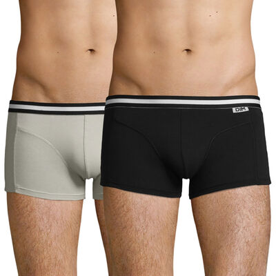 Pack of 2 pairs of EcoDIM stretch cotton trunks in black and grey, , DIM