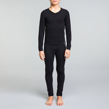 Tee-shirt manches longues noir col V DYNAMIC Boy-DIM