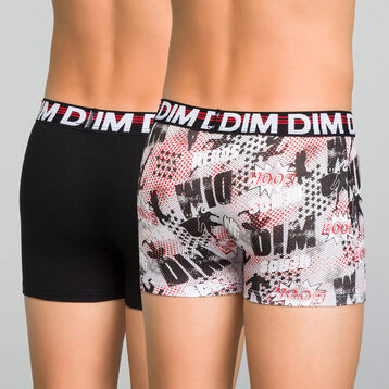 2 pack black and printed trunks for Boy - Eco Dim, , DIM