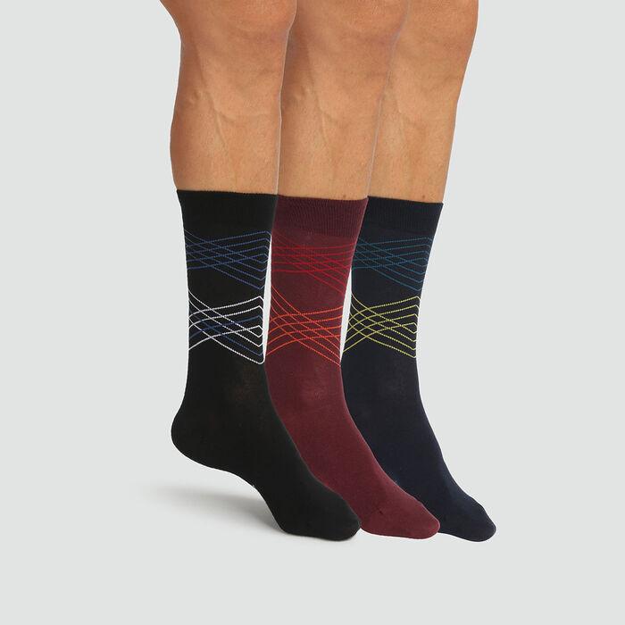 Cotton Style pack of 3 pairs of men's tartan socks Black Burgundy, , DIM