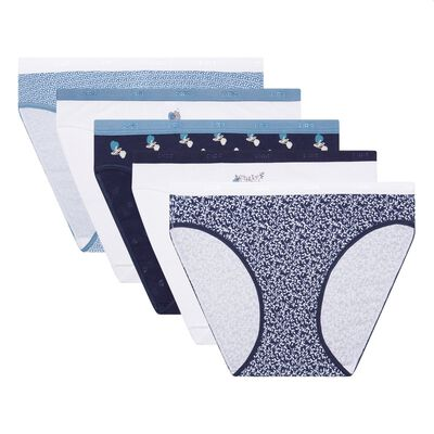 Les Pockets Cotton pack of 5 stretch cotton briefs with boreal print, , DIM
