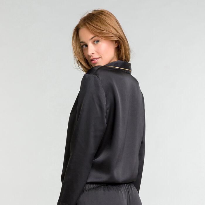 Haut de pyjama noir en satin Glamour Chic, , DIM