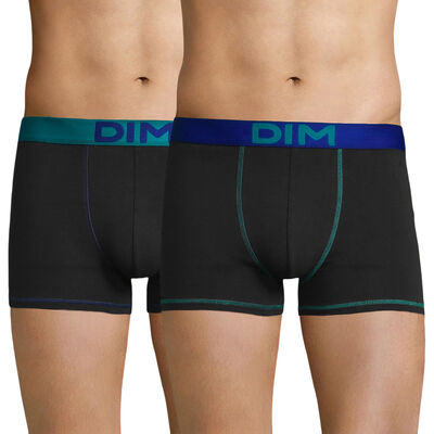 Pack of 2 black trunks with blue belts and seams - Mix and Colors, , DIM