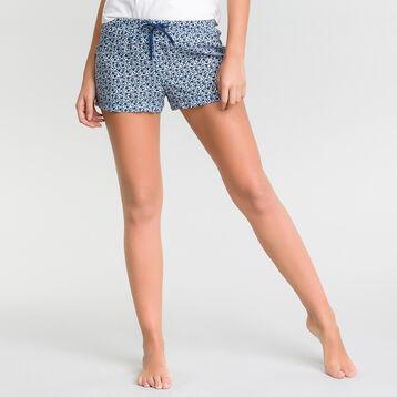 Short pyjama blanc à imprimé fleuri bleu - Fashion, , DIM