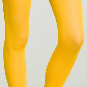 Women's Opaque Velvet Tights in Mustard Yellow Dim Style, , DIM