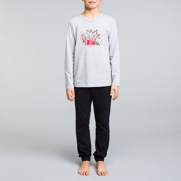 Mottled grey and black pyjama set for boy - Nuit Comic, , DIM