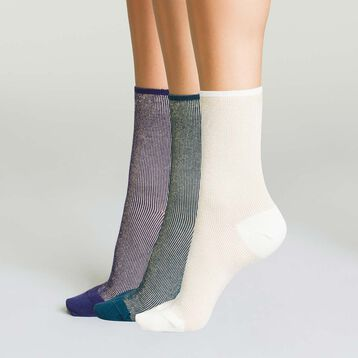 3 pack women's socks in cotton with striped lurex white, blue and purple, , DIM