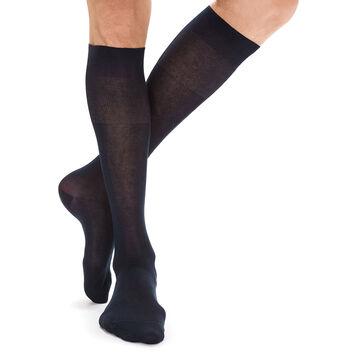 Navy lisle knee highs for men, , DIM