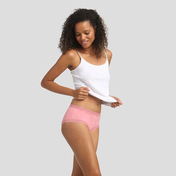 Coral pink microfiber shorty Dim Panty Box, , DIM
