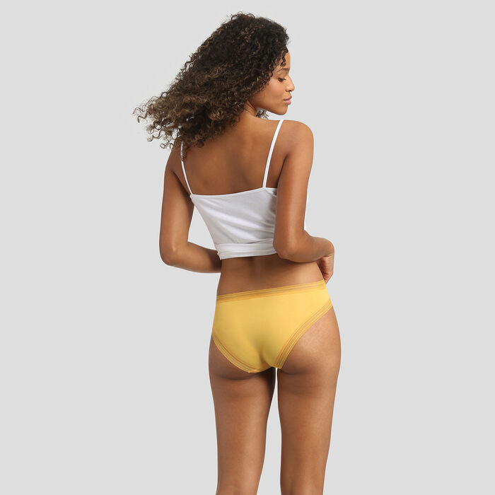 Golden yellow microfiber briefs Dim Panty Box, , DIM