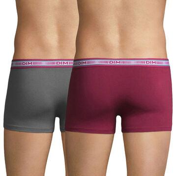 Lot de 2 boxers gris foncé et rouge grenat 3D Flex-DIM