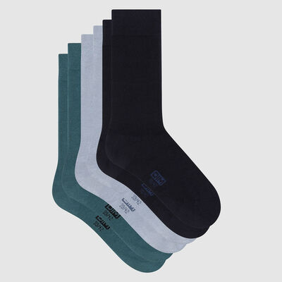 Pack of  3 pairs of men's socks cotton Blue Green Basic Cotton, , DIM