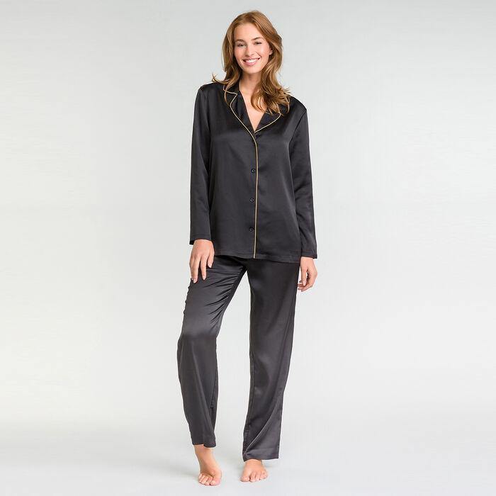 Pantalon pyjama satin noir - Glamour Chic, , DIM