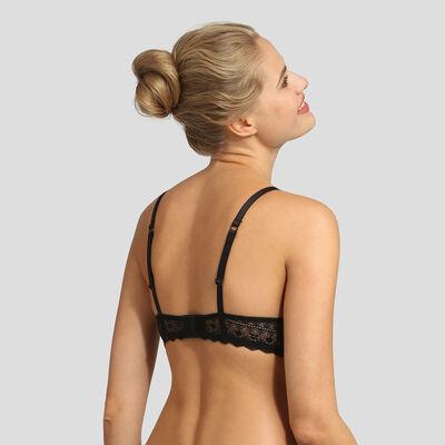 Dim Daily Glam black graphic lace push-up triangle bra , , DIM