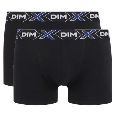 Pack of 2 pairs of black X-Temp stretch cotton trunks, , DIM