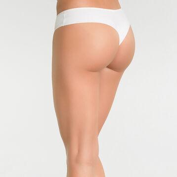 Tanga brésilien microfibre blanc ivoire glacé - Table Panties, , DIM
