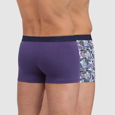 Lot de 2 boxers coton imprimé palmiers et bleu précieux Mix and Fancy, , DIM