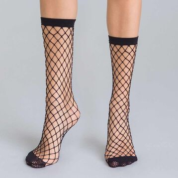 Style 54 black fishnet low-cut socks - DIM