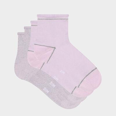 Набор 2 шт.: розовые женские следки с серебристым люрексом Cotton Style, , DIM