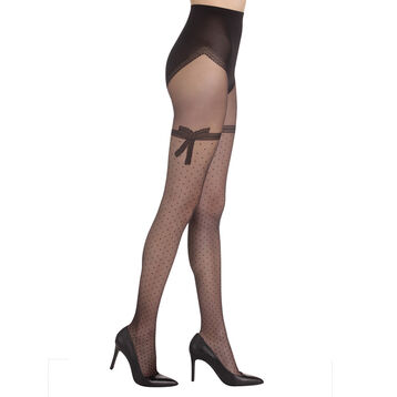 Collant noir Sexy nœud dentelle transparent 20D-DIM