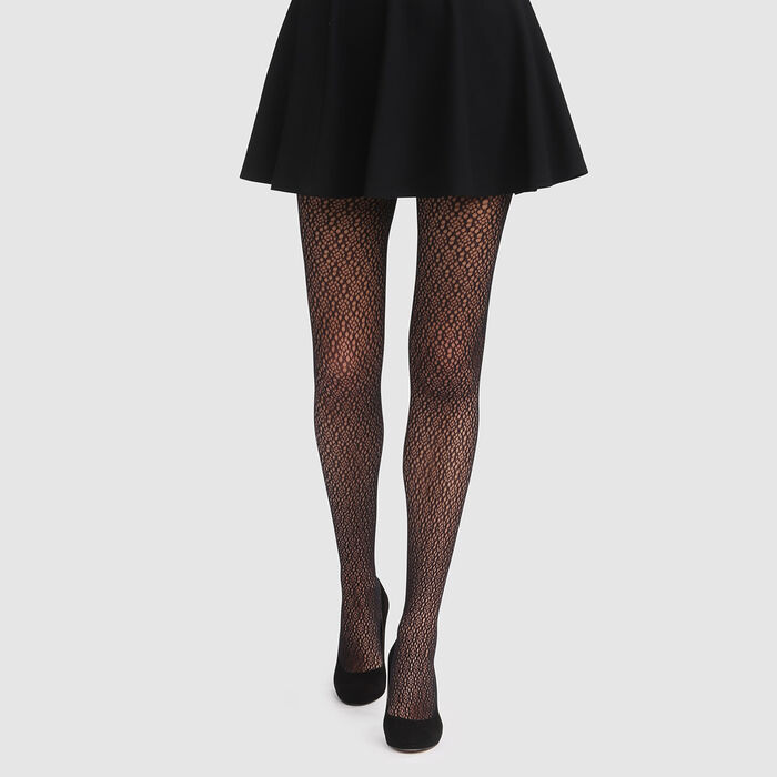 Black herringbone pattern fishnet tights Dim Style, , DIM