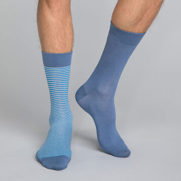 2-pack ink blue striped Men's socks, , DIM