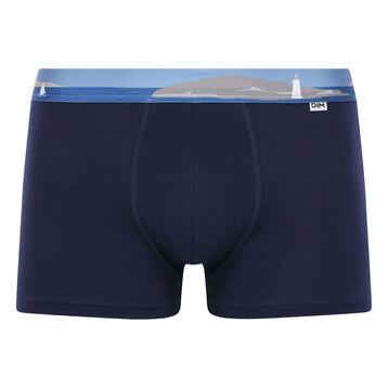 Stretch cotton trunks with printed waistband Denim Blue, , DIM