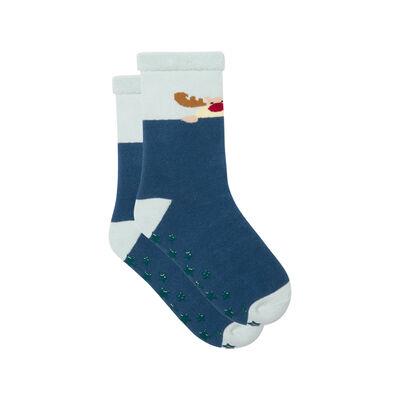 Non-slip Snowman Cocoon Blue Kids Socks, , DIM