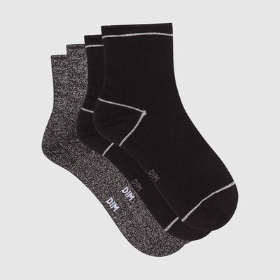 Cotton Style pack of 2 pairs of ankle socks in black cotton and silver lurex, , DIM