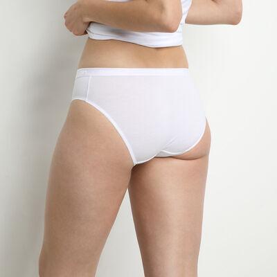 Pack of 2 pairs of Coton Plus Bio organic cotton midi knickers in white, , DIM