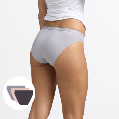 Pack of 3 briefs taupe, pink and grey Les Pockets EcoDIM, , DIM
