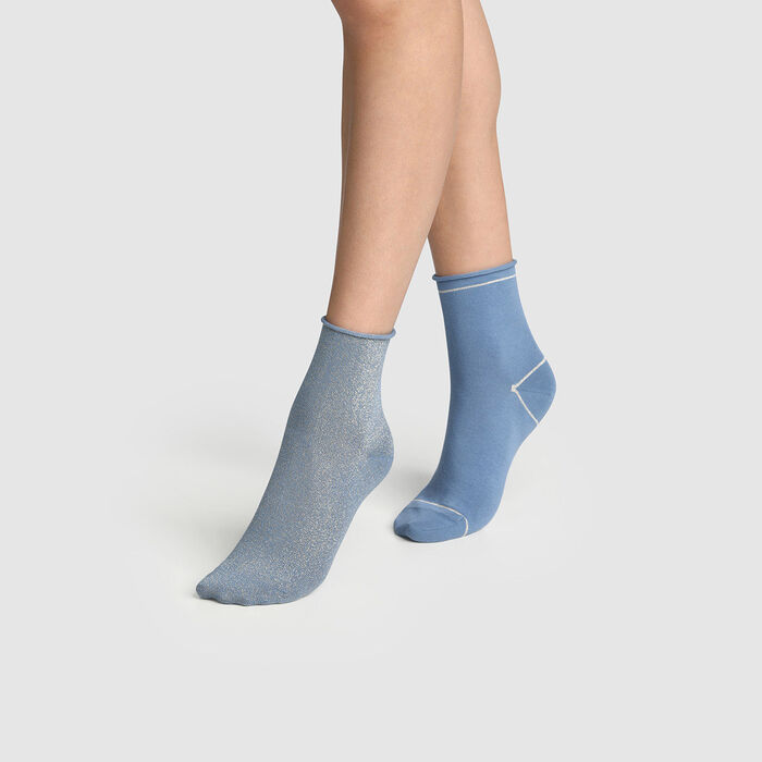 Pack of  2 pairs of golden lurex women's socks Cotton Blue Style, , DIM