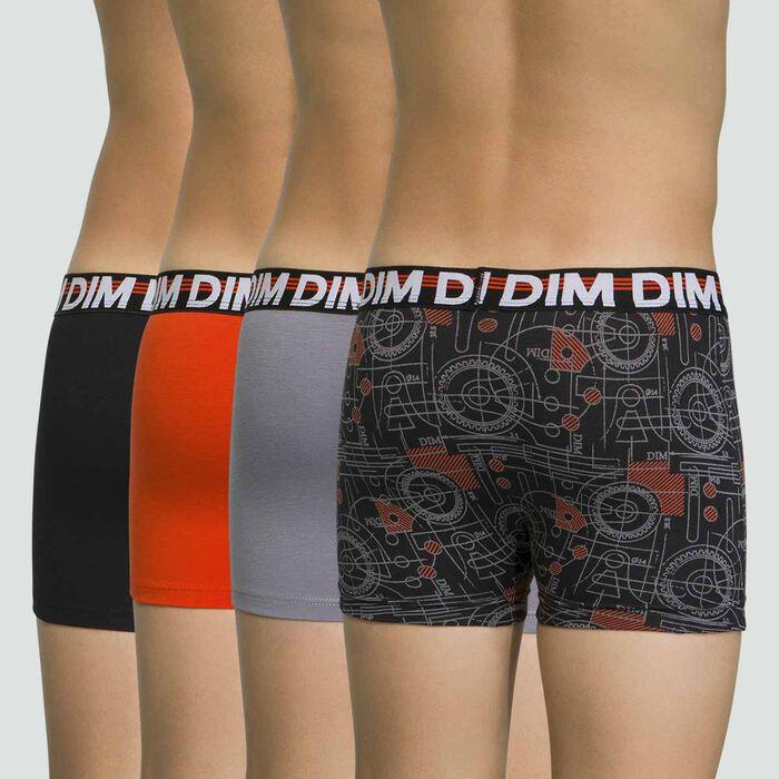 Lot de 4 boxers Noirs pour garçon en coton stretch Promo Eco, , DIM