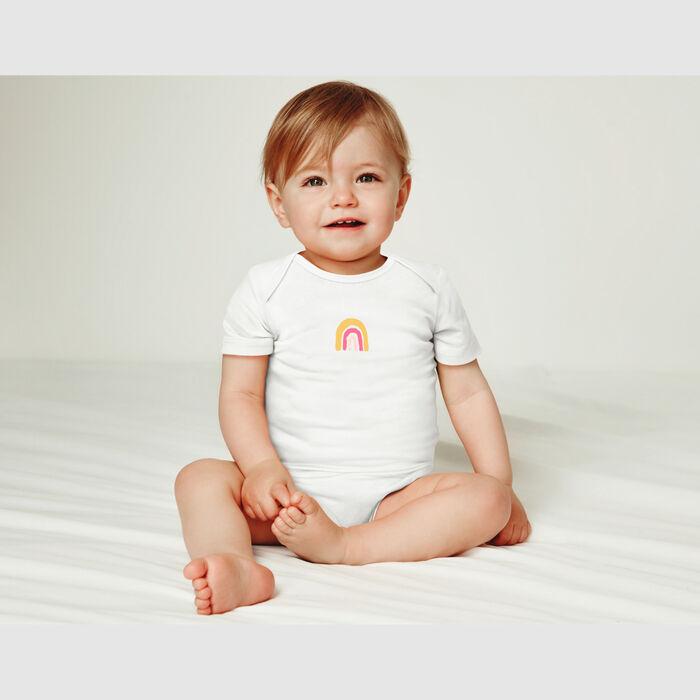 Dim Baby Pack of 3 organic  Pink cotton short-sleeved rainbow bodysuit, , DIM