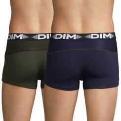 Lot de 2 boxers bleu cobalt et vert kaki 3D Flex Air-DIM