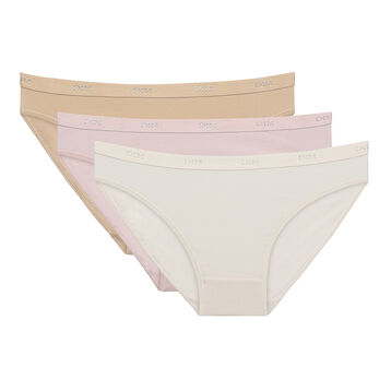 Lot de 3 slips peau/rose/nacre Les Pockets Coton-DIM
