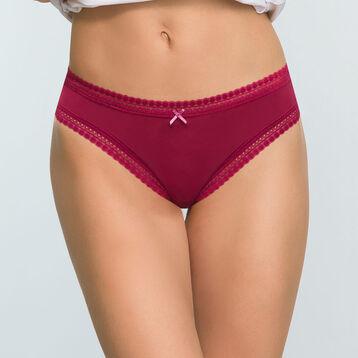 Cherry red microfiber brief Micro Lace Panty Box, , DIM