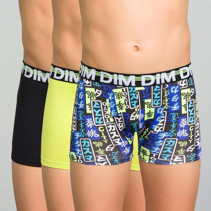 3 pack black, yellow and printed blue trunks - Trio DIM, , DIM