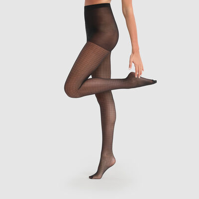 Полупрозрачные колготки Dim Style 27D черного цвета с принтом ромбы, , DIM