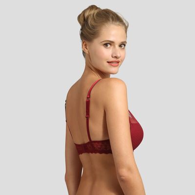Red dotted swiss mesh and lace push-up triangle bra Daily Glam, , DIM