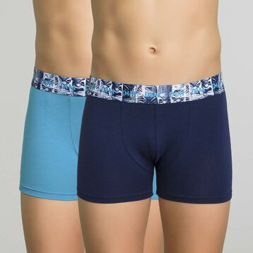 Lot de 2 boxers bleu nuit et turquoise - Box Hawai, , DIM