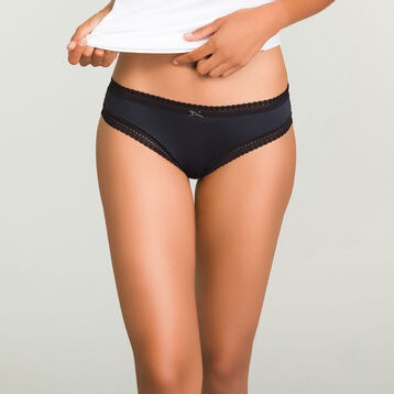 Black microfiber brief Micro Lace Panty Box, , DIM