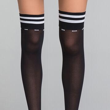 Chaussettes hautes femme Sporty Look noires et blanches - DIM Style, , DIM