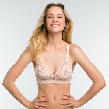 Lace pink non-wired bra - Dim Sublim, , DIM