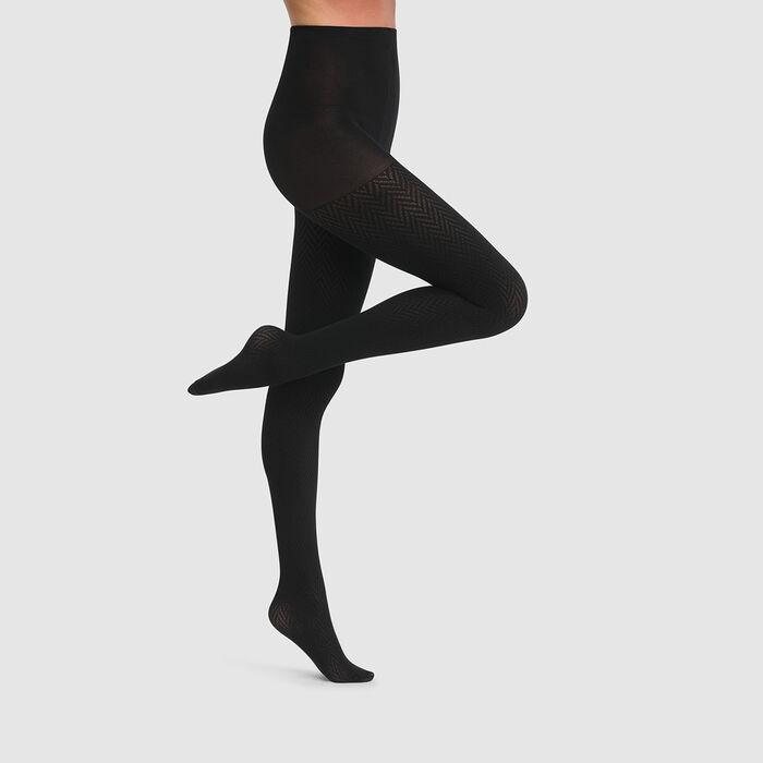 Dim Style 70D Black herringbone tights, , DIM