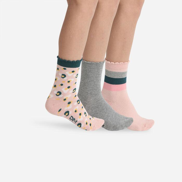 Lot de 3 paires de chaussettes enfant camouflage Rose Gris Coton Style, , DIM